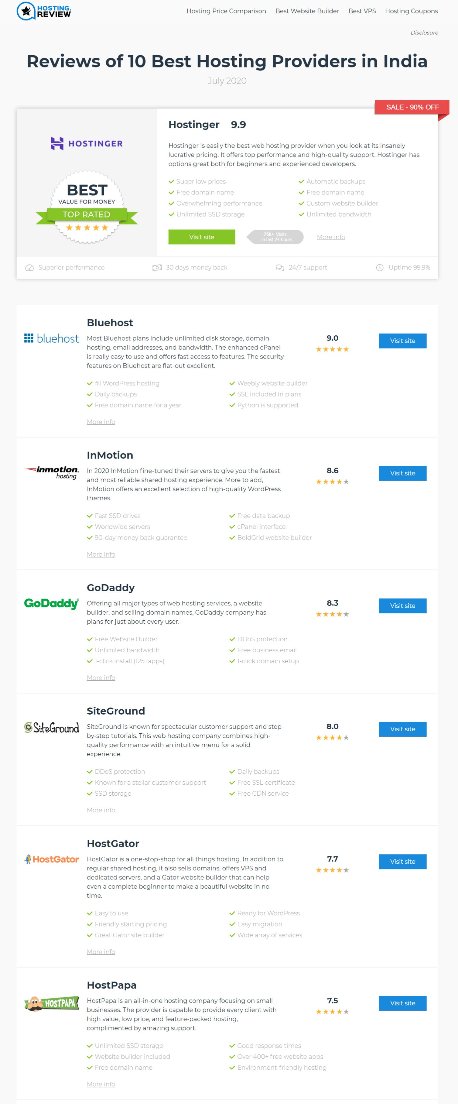 web hosting reviews website